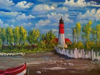 Landschaft, Boot, Baum, Leuchtturm