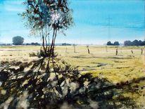 Schatten, Strommasten, Feld, Baum