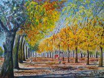 Menschen, Baum, Allee, Herbst