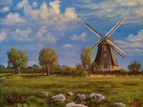 Windmühle, Natur, Wolken, Wiese