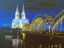 Fluss, Köln, Nacht, Dom