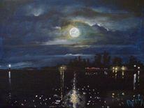 Bucht, Himmel, Nacht, Wolken