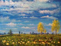 Himmel, Birken, Wolken, Natur