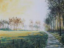 Landschaft, Aquarell, Malerei
