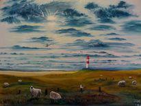 Himmel, Schaf, Leuchtturm, Tiere