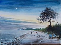 Fischer, Meer, Mond, Strand
