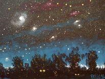 Katze, Nacht, Glühende, Stern