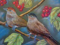 Tierportrait, Pastellmalerei, Kirschbaum, Vogel