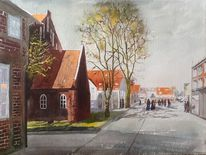 Häuser, Kirche, Stadt, Fußgängerzone