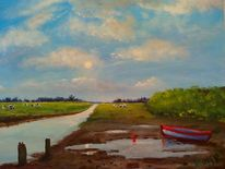 Sonne, Boot, Landschaft, Kuh