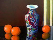 Mandarine, Stillleben, Obst, Vase