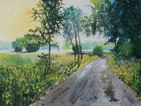 Baum, Feldweg, Morgen, Regen