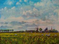 Wiese, Windmühle, Landschaft, Weite