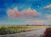 Aquarellmalerei, Feld, Wolken, Natur