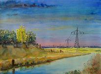 Landschaft, Strommasten, Fluss, Deich