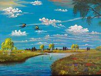 Wildvögel, Baum, Fluss, Birken