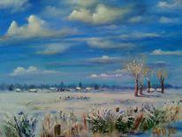 Schneebedeckt, Dorf, Wiese, Weite