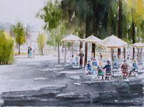 Café, Terrasse, Park, Baum