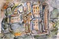 Stadtlandschaft, Kubismus, Abstrakt, Zeichnungen