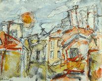 Komposition, Expressionismus, Abstrakt, Stadtlandschaft