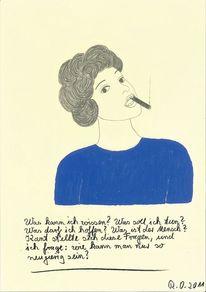 Frau, Zigarre, Locken, Blau