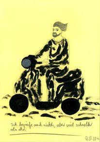 Bart, Gesicht, Motorrad, Dadaismus