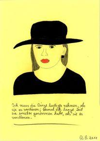 Philosophie, Blick, Rote lippen, Malerei