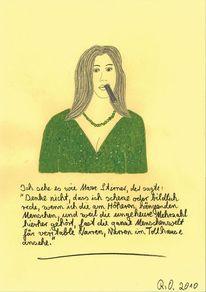 Frau, Zigarre, Grün, Philosophie