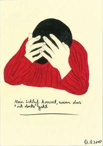 Schlaf, Denken, Menschen, Rot schwarz