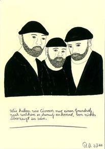 Bart, Männergruppe, Bärtig, Acrylmalerei