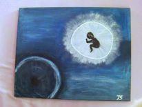 Acrylmalerei, Menschlichkeit, Frieden, Blau