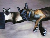 Portrait, Hund, Auftragsmalerei, Katze
