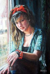 Fenster, Mädchen, Armband, Portrait