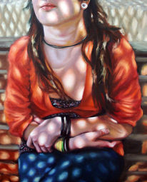 Menschen, Schatten, Mädchen, Ölmalerei