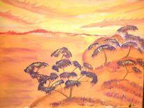 Landschaft, Lichtspiele, Baum, Malerei