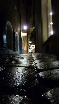 Pflaster, Nacht, Regen, Straße