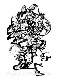 Lino gravure, Grafik, Schwarz weiß, Linol