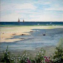 Boot, Strand, Meer, Grün