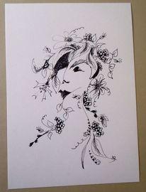 Frau, Blumen, Zeichnung, Gesicht