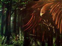 Vogel, Acrylmalerei, Wald, Malerei