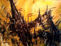 Abstrakt, Gothik, Gemälde, Kathedrale