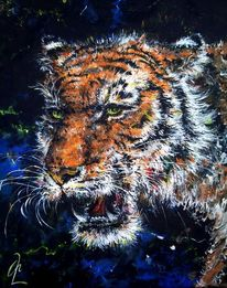 Raubtier, Malerei, Katze, Großkatze