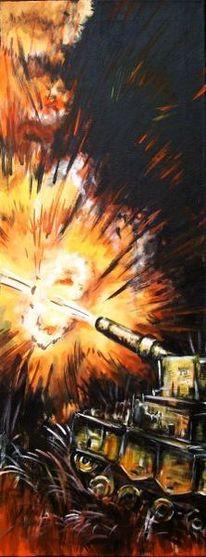 Panzer, Acrylmalerei, Explosion, Krieg