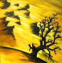 Sand, Sturm, Acrylmalerei, Baum