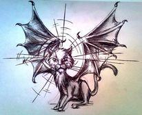 Grimmig, Flügel, Katze, Kugelschreiber