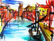 Stadt, Leben, Gemälde, Abstrakt