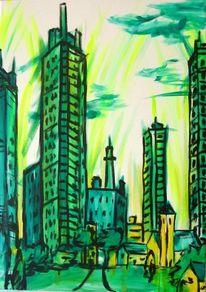 Wolkenkratzer, Stadt, Alt, Baum