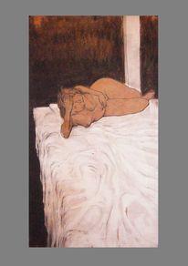 Acrylmalerei, Kohlezeichnung, Tuschmalerei, Akt
