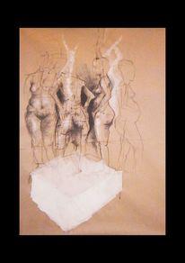 Kohlezeichnung, Acrylmalerei, Akt, Tuschmalerei