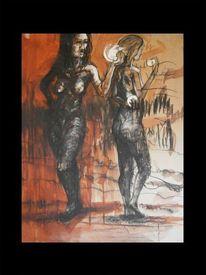 Menschen, Kohlezeichnung, Zeichnung, Malerei